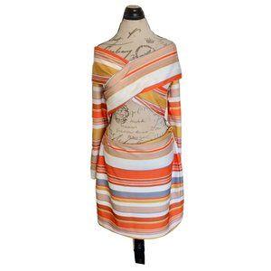 ASOS Dress Front Cut Out Orange White Striped Cros